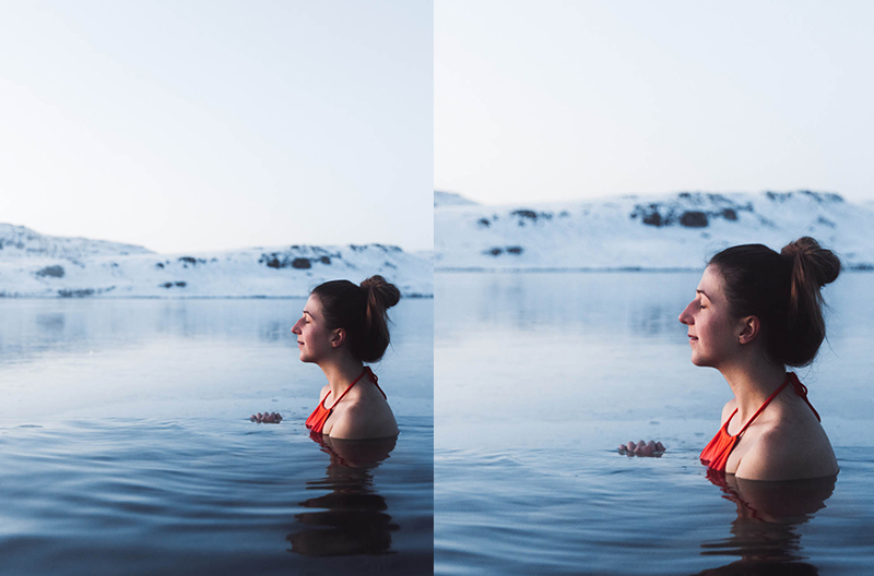 Illustration of image cropping to photograph of woman swimming in a thermal pool with snowcapped mountains in the background