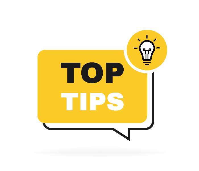 Top tips geometric message bubble with light bulb emblem. Logo design. Vector illustration