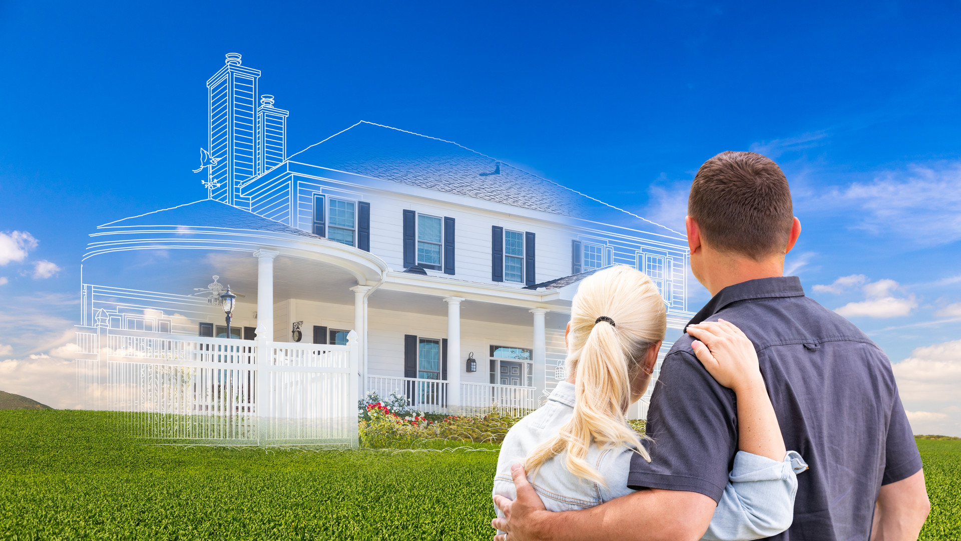 Couple Facing Ghosted House Drawing and Photo Over Green Landscape