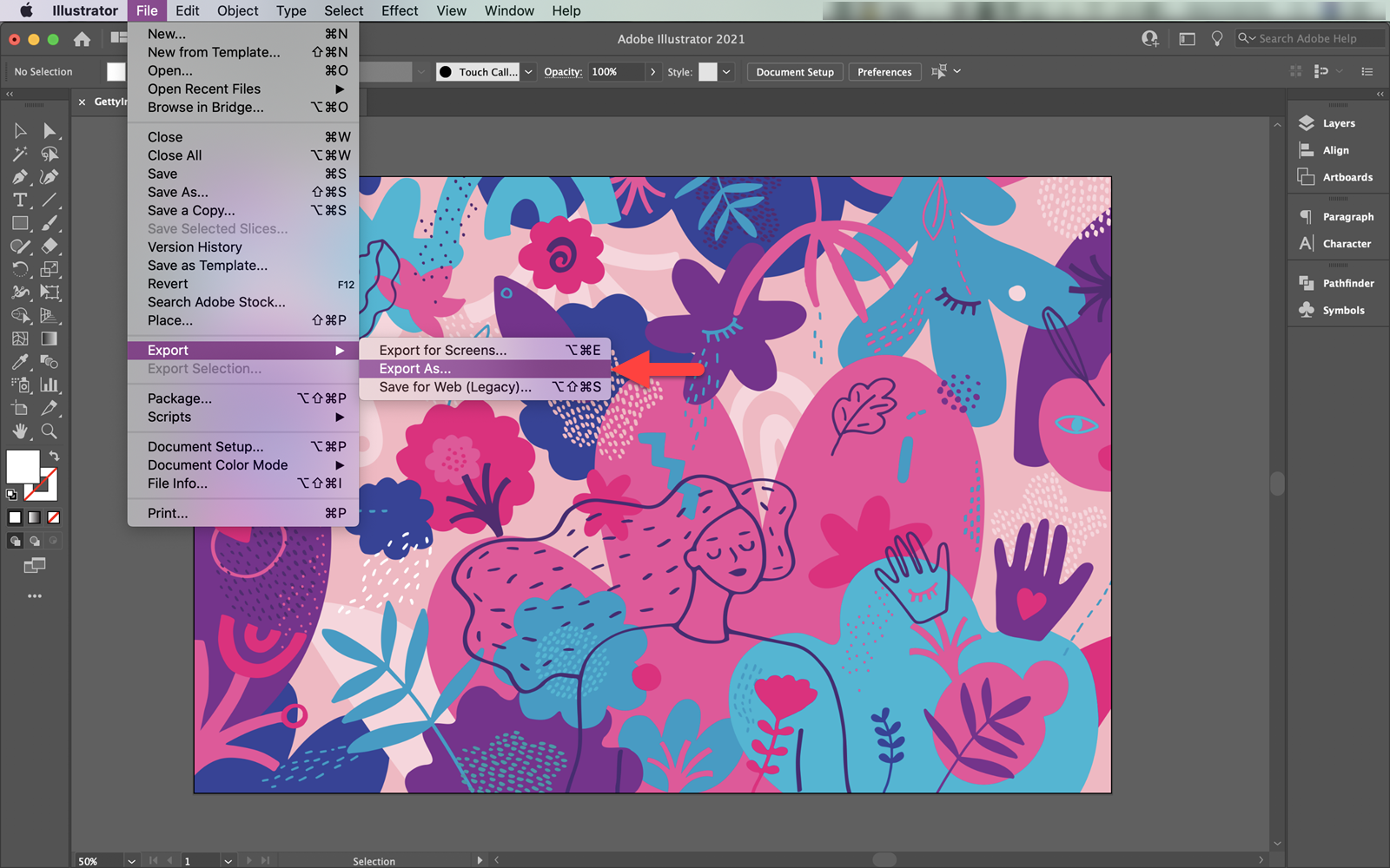 Exporting an AI image file in Adobe Illustrator for Mac