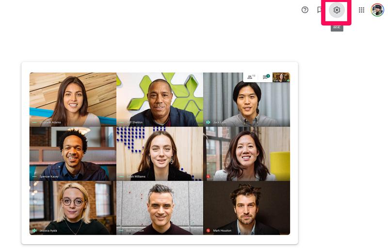Google Meetの設定アイコンをクリック
