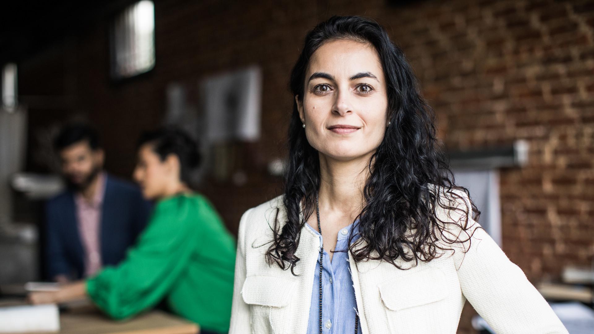 Portrait of businesswoman in creative office