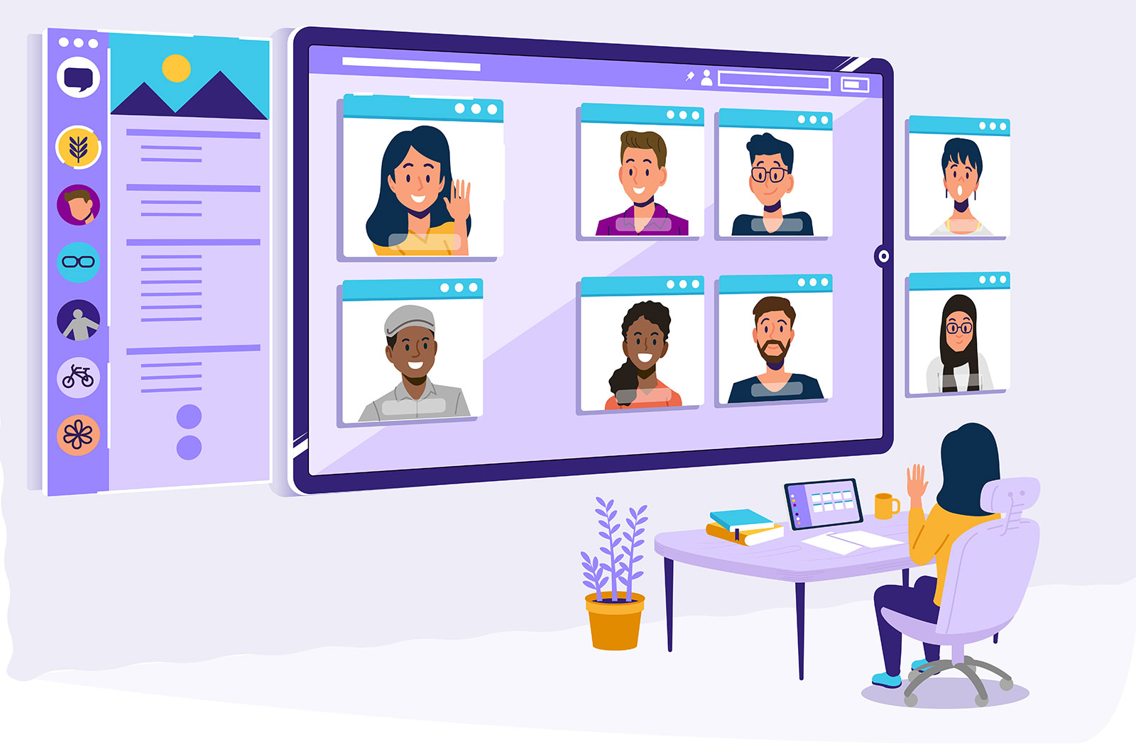 Illustration of a group of people working together on a video conference.