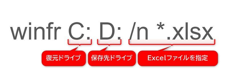 winfr c: d: /n *.xlsxと入力