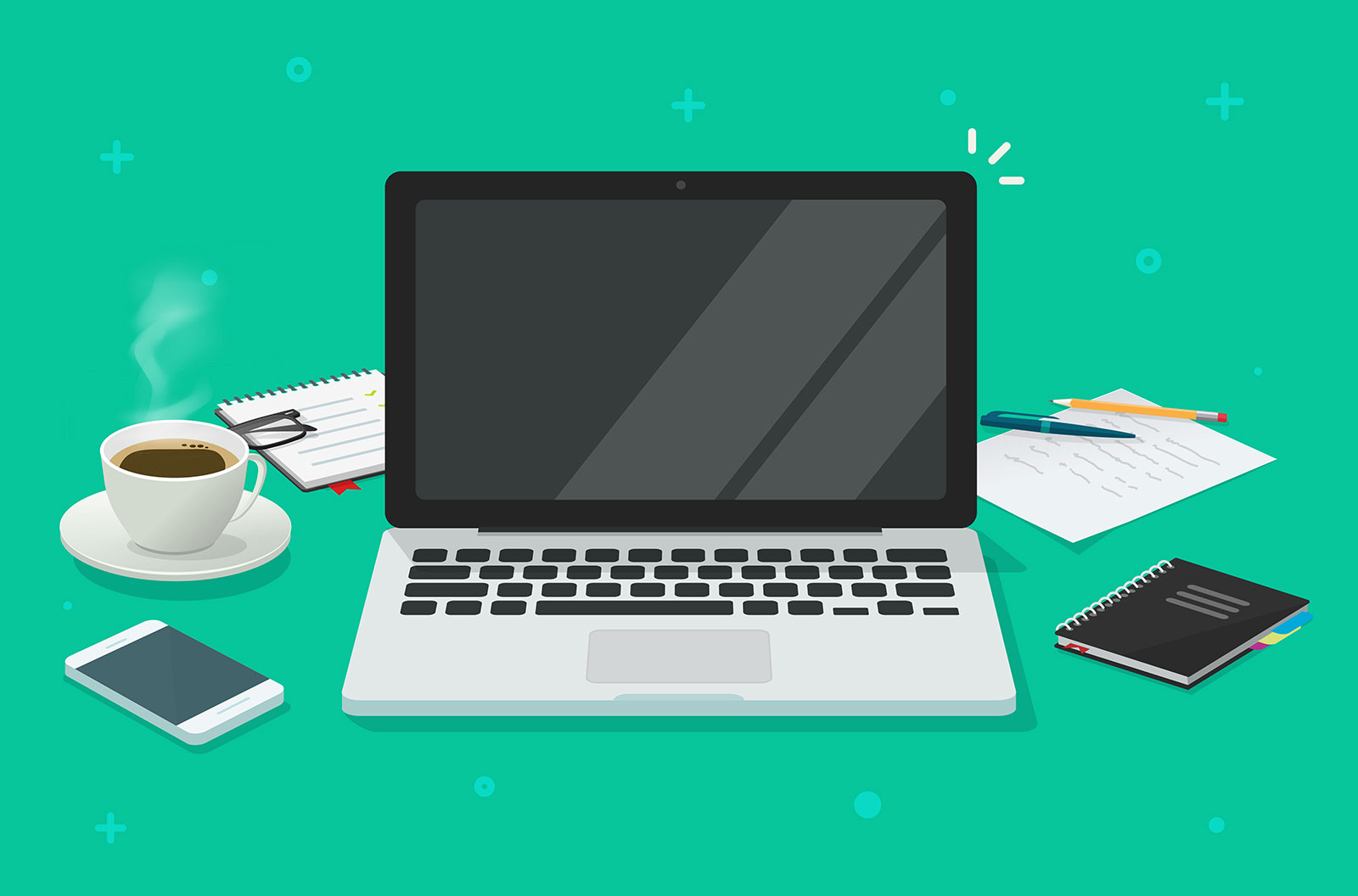 vector illustration of computer laptop with blank empty screen