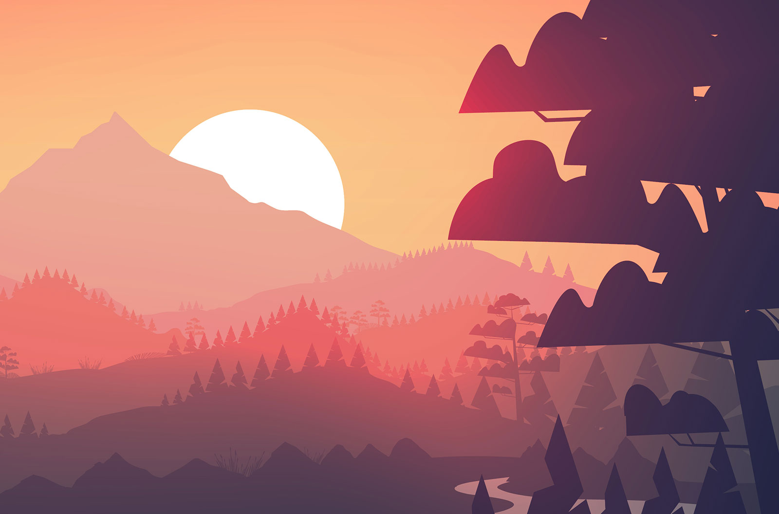 Flat minimal lake with pine forest, and mountains at sunset vector background