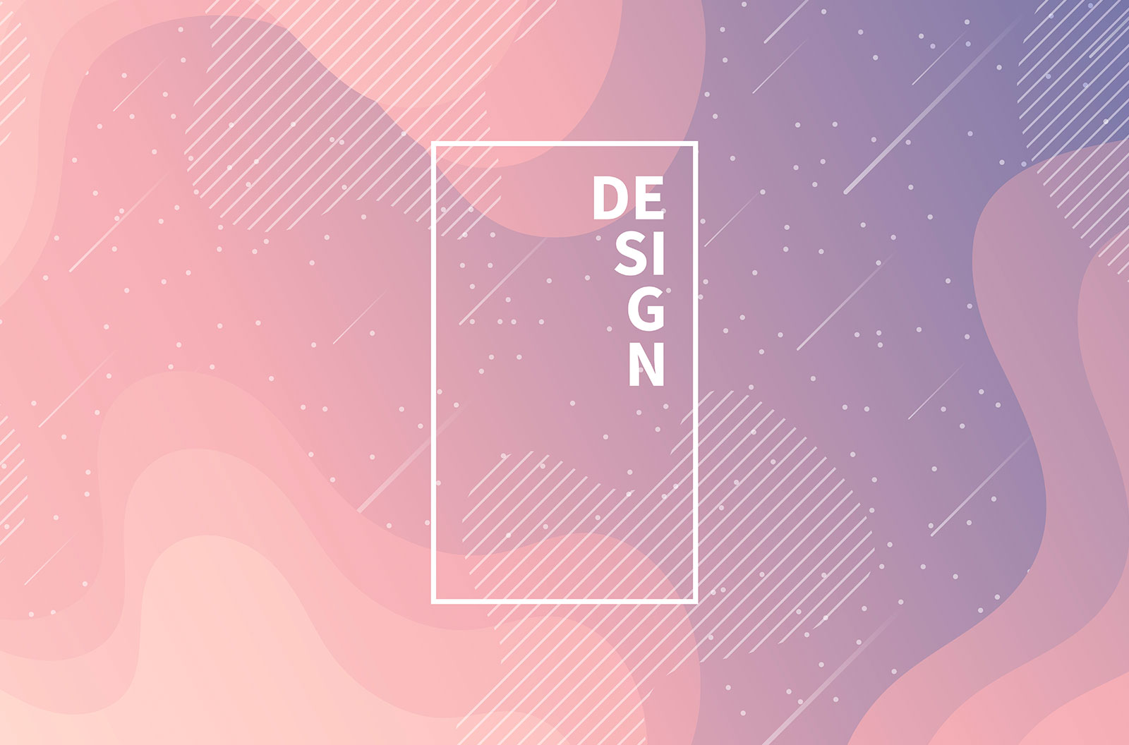 Trendy starry sky with geometric shapes and pink gradient vector background