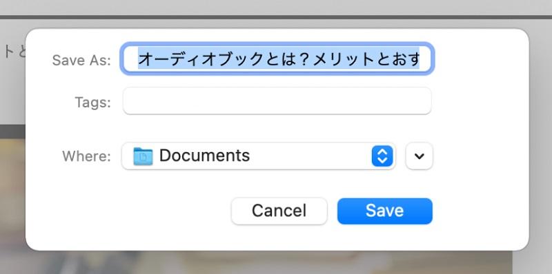 ファイル名と保存先を選んで「Save」