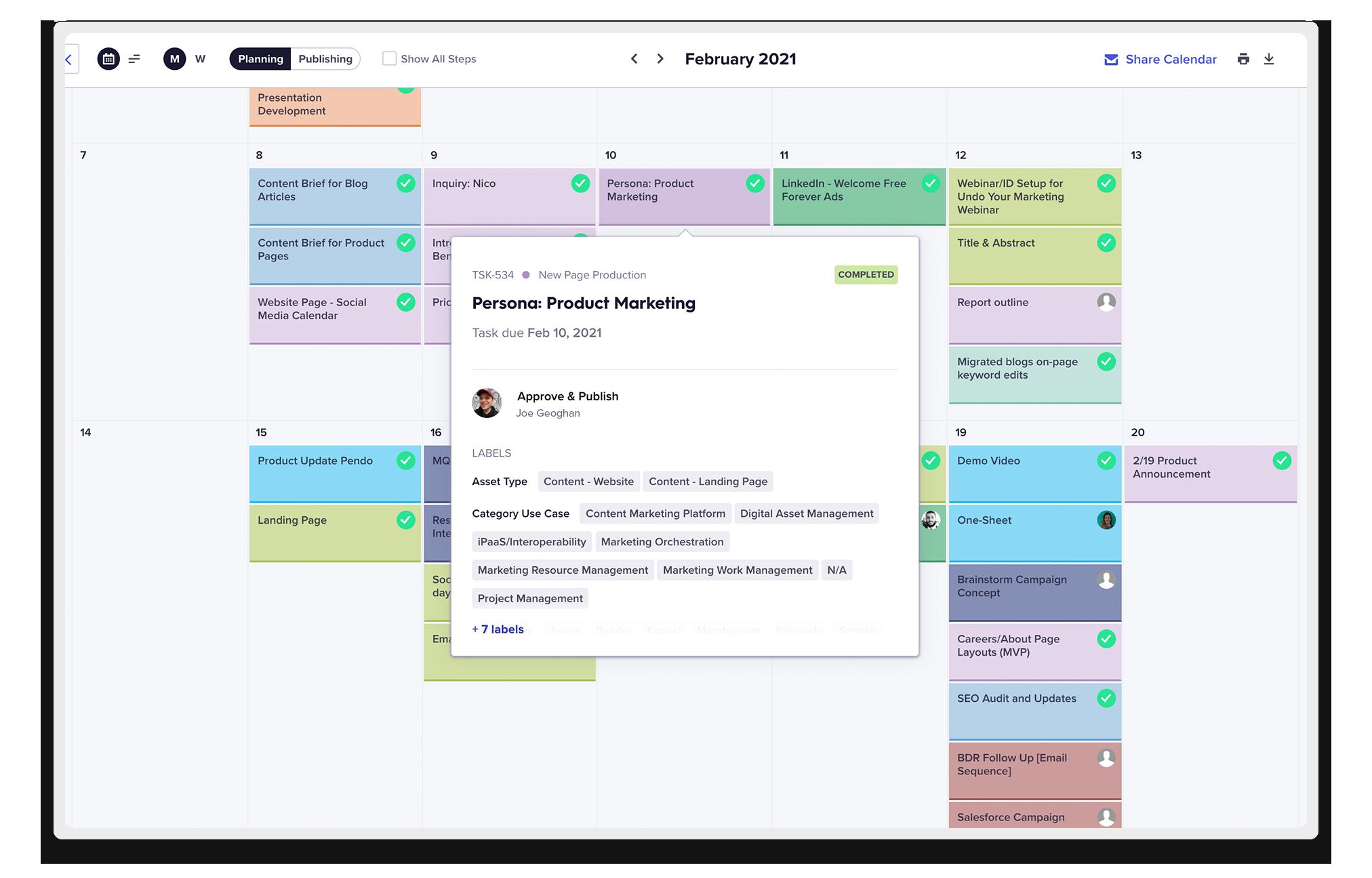 Welcome's Content Planning Calendar