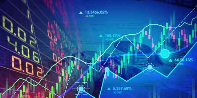 Business financial concept with double exposure stock market up trading line