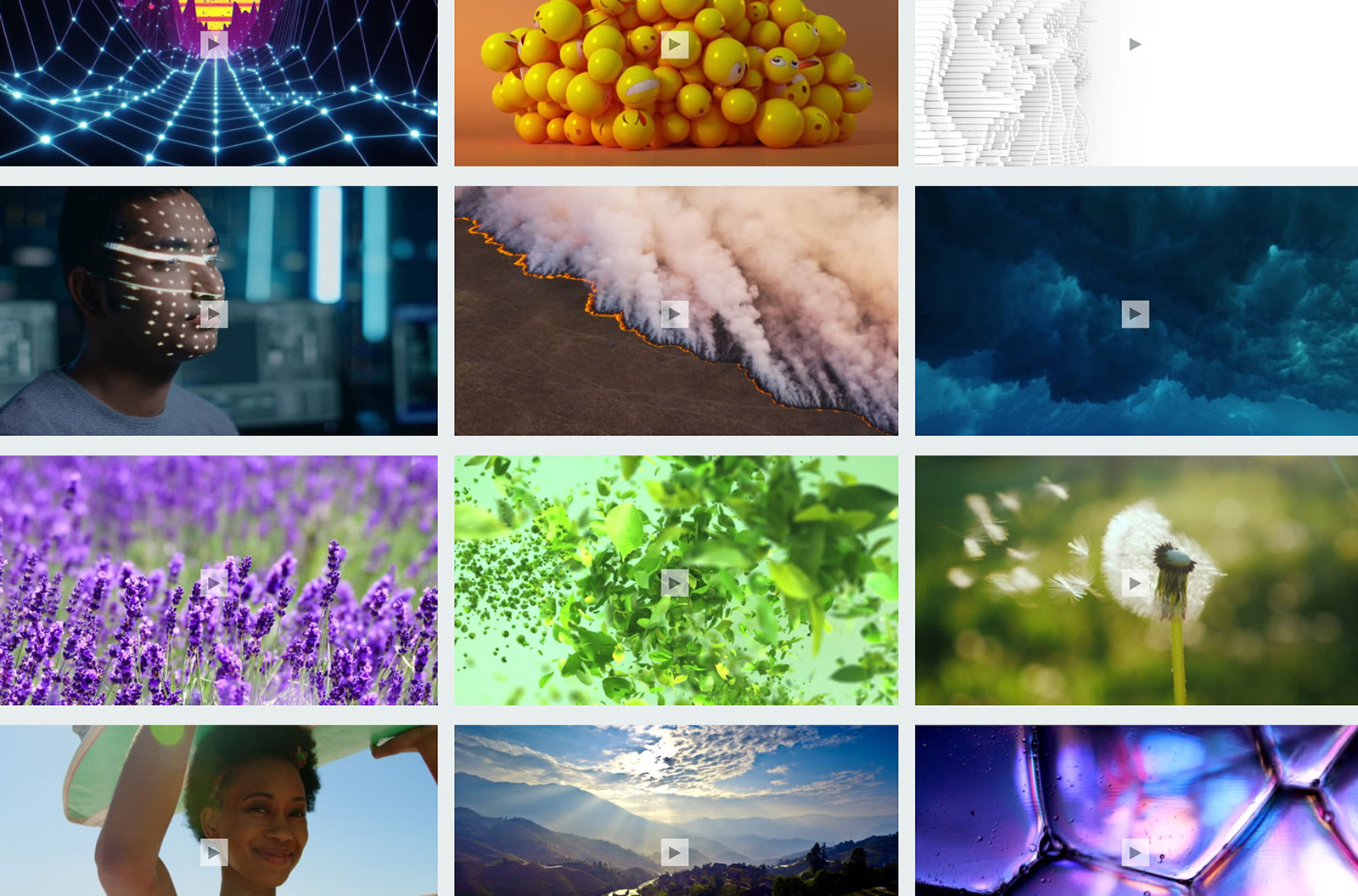Mosaic of different colorful imagery, including lavender, virtual reality, and beautiful vistas