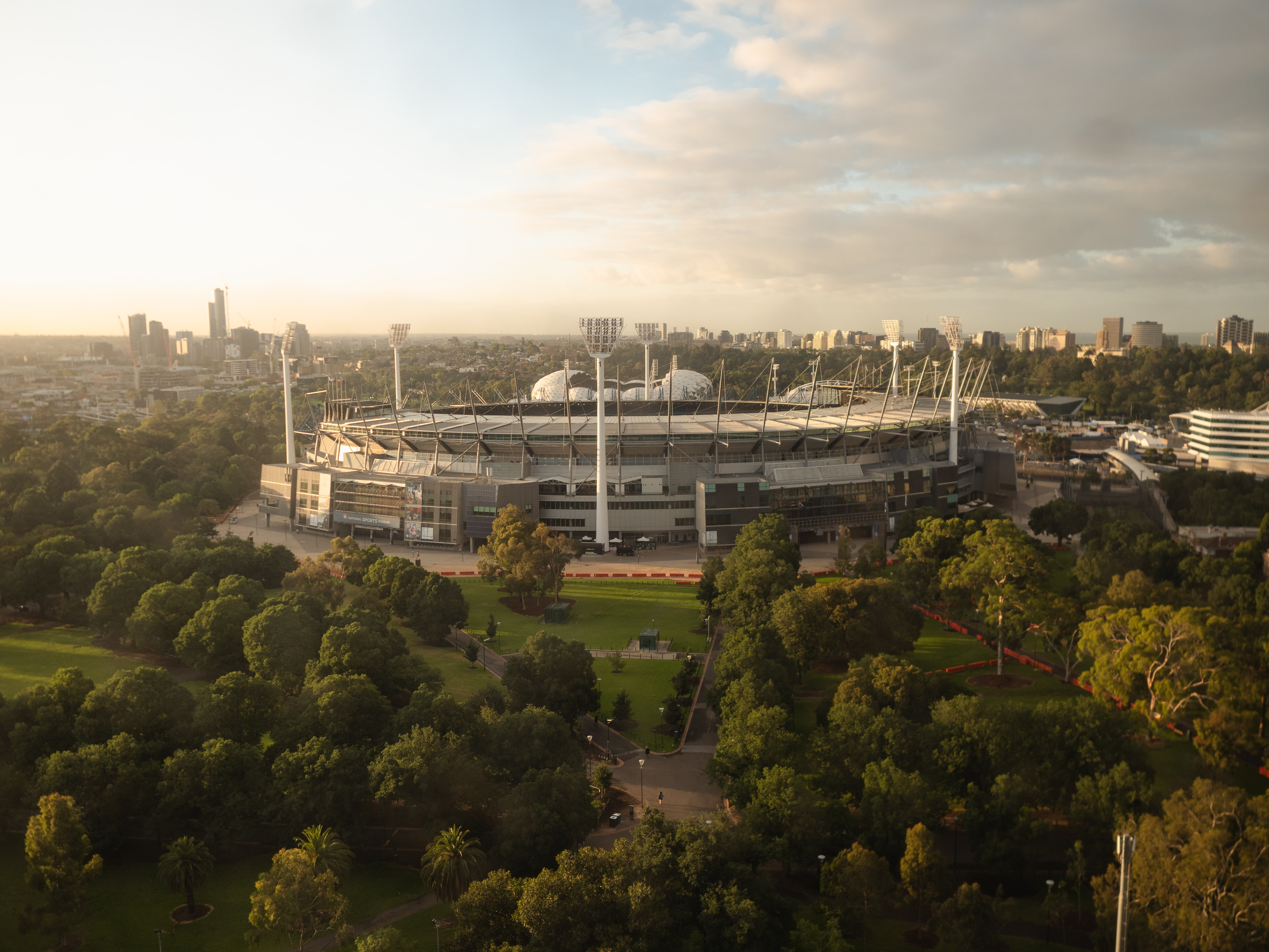 Morning sunrise of the Melbourne Cricket Ground (MCG)