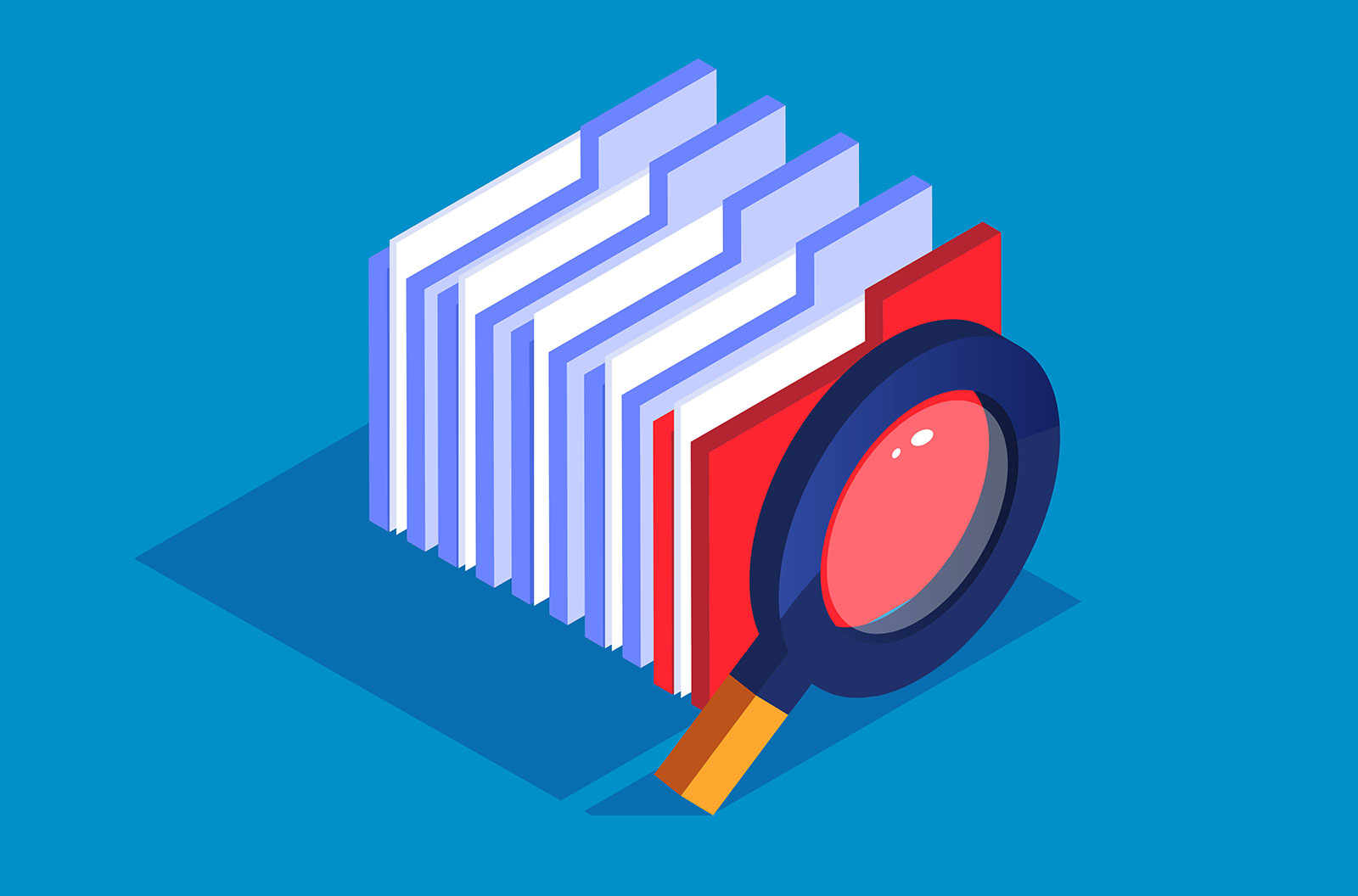 File search illustration of a magnifying glass with a bunch of folders behind