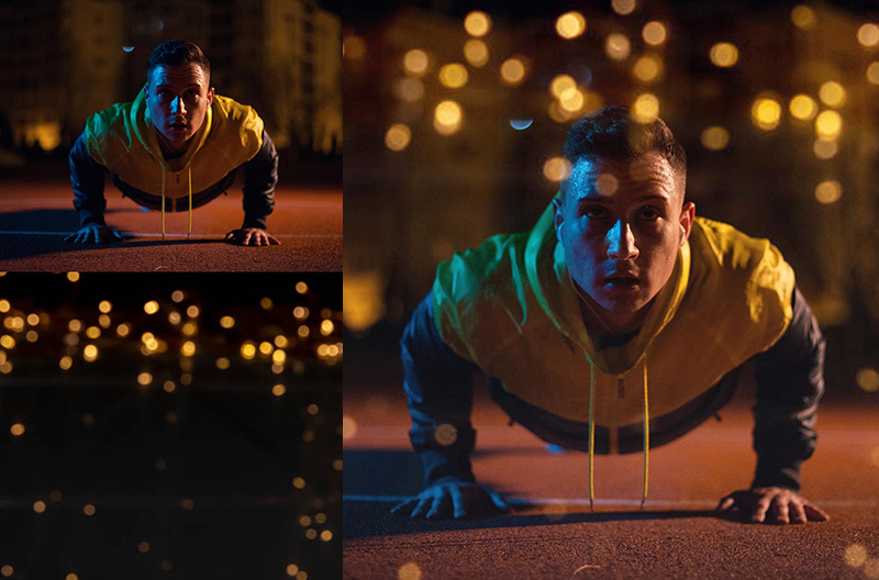 Photograph of young man doing pushups at night in sports clothes to illustrate how to combine different images