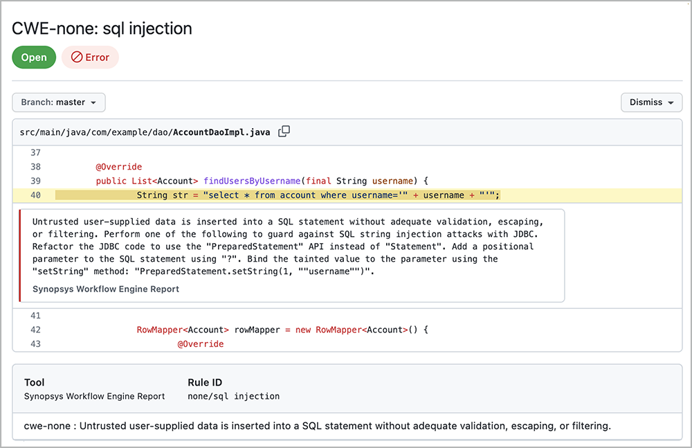 Guidance from SQL injection   Synopsys