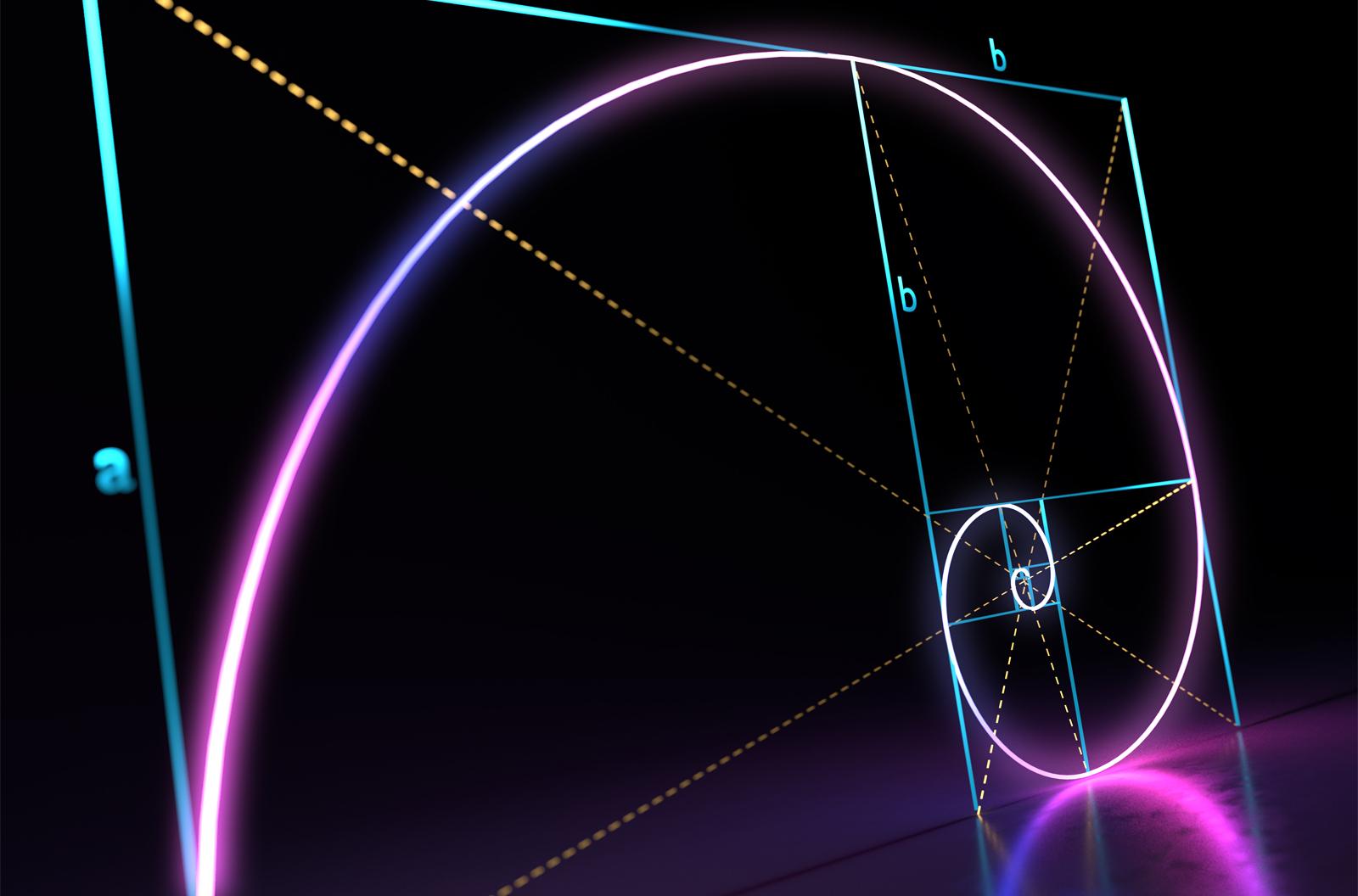 3D rendered illustration of Fibonacci golden ratio spiral on black background