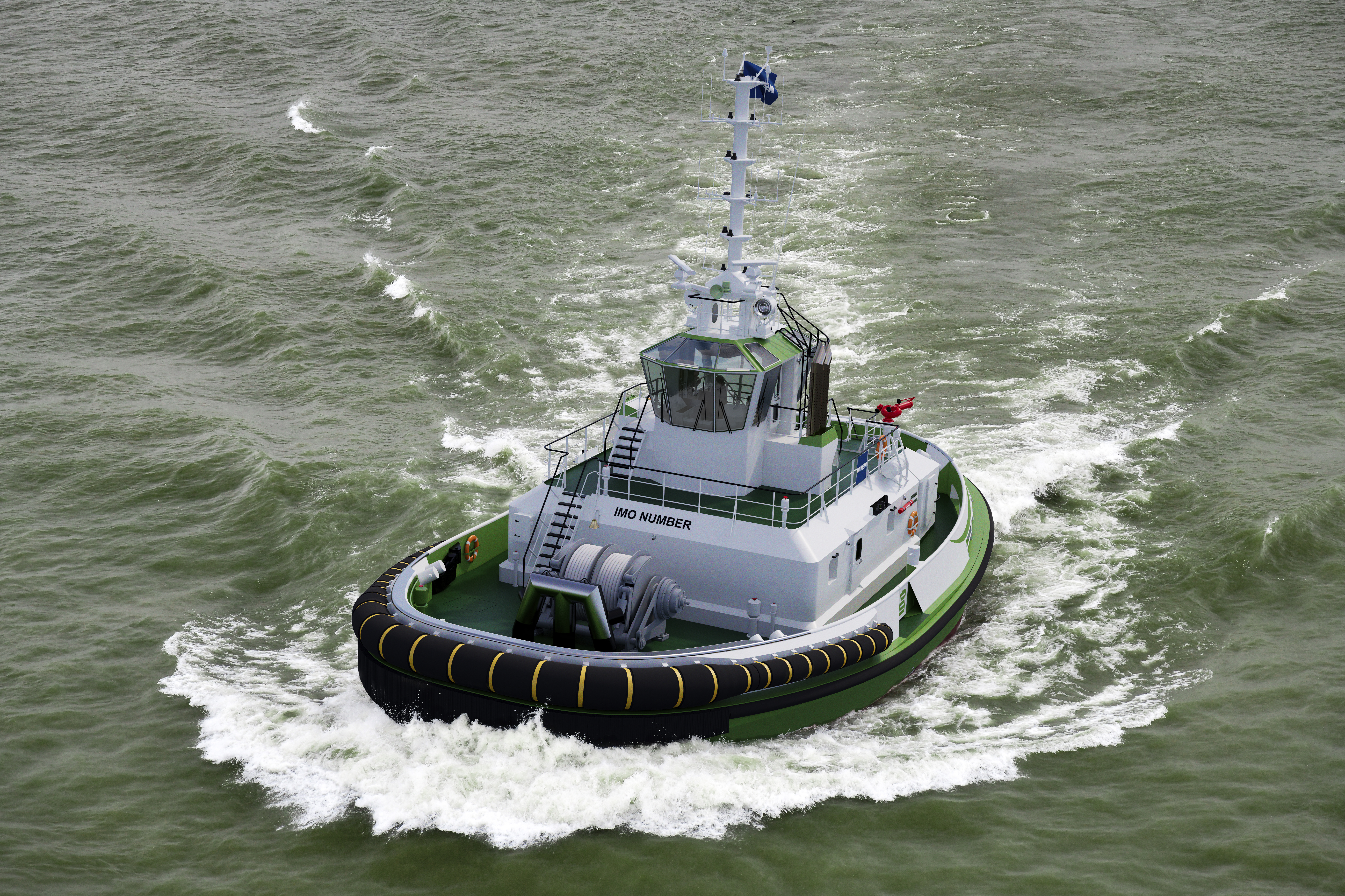 An artist impression of 'Sparky', the world's first fully electric tugboat with a 70 ton bollard pull