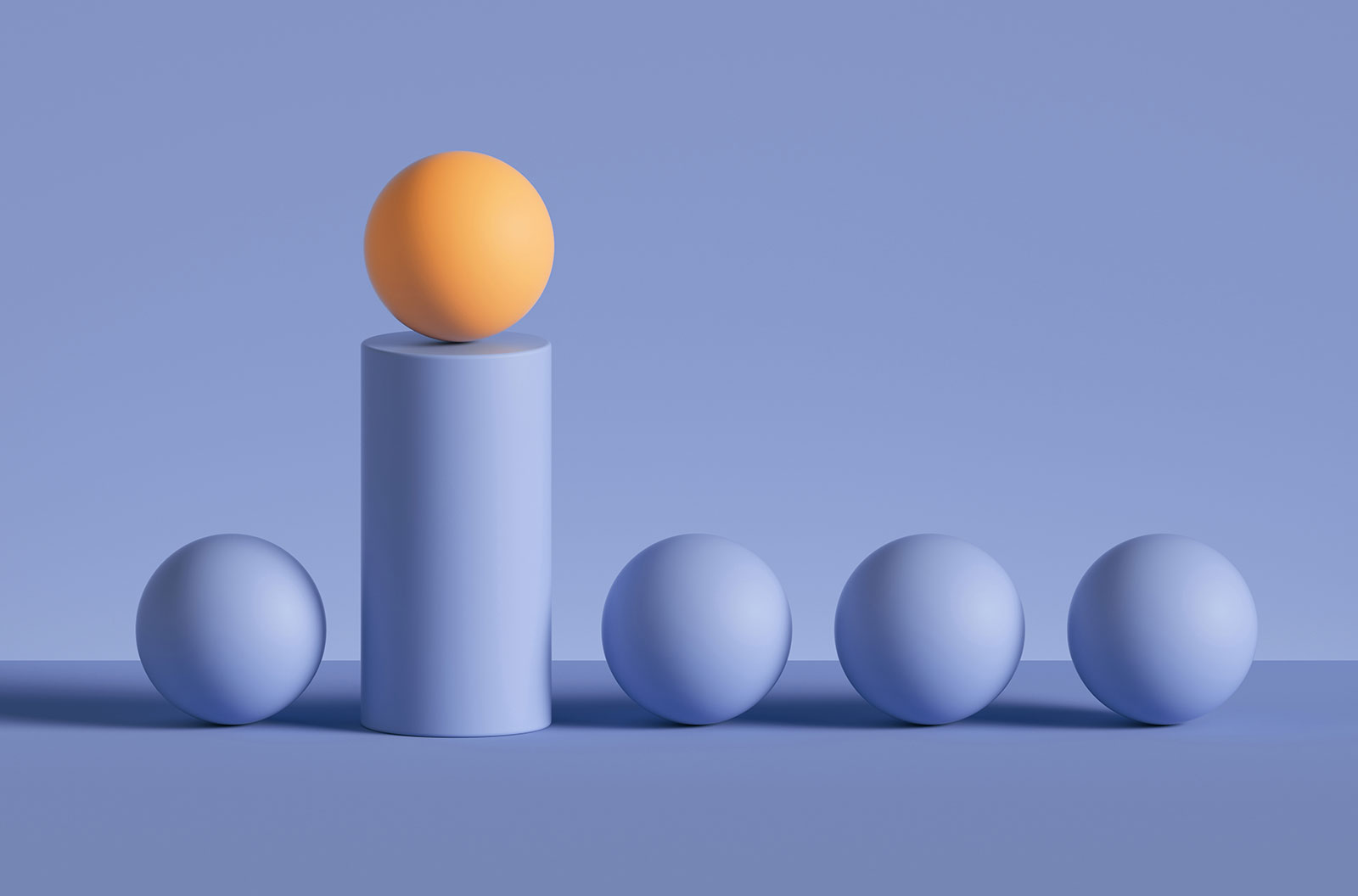 3D rendered abstract image of a yellow ball placed on a purple cylinder podium