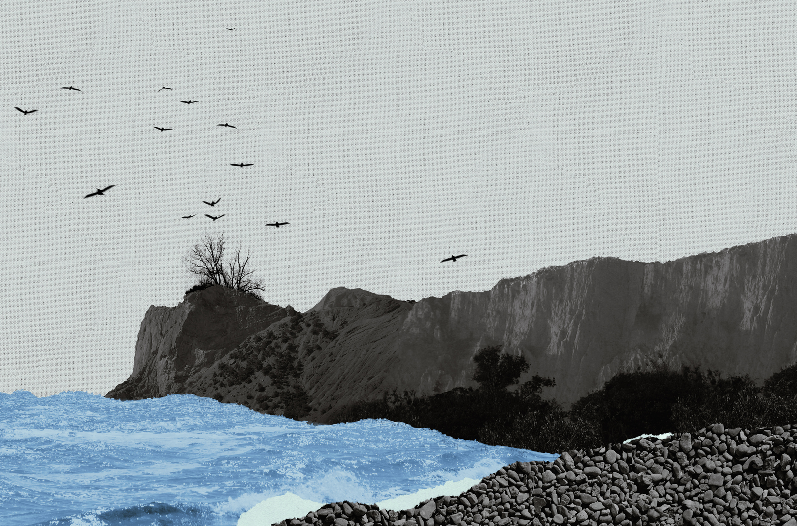 Composition of the sea splashing against rocks made of torn pieces of vintage paper, carton, and torchon.