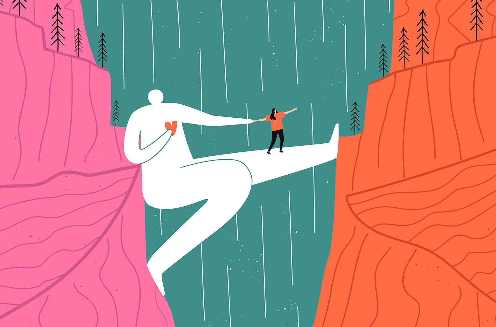 Illustration of a huge man who acts as bridge for a girl crossing a canyon with a waterfall