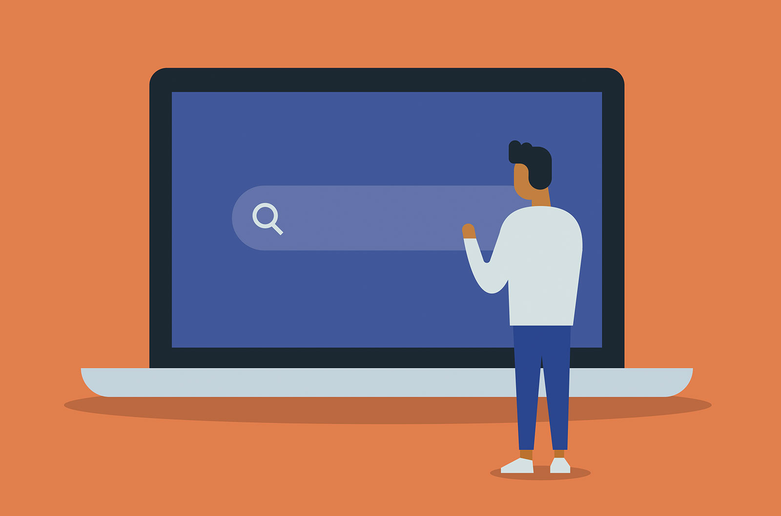 Vector illustration of young man in front of a giant laptop computer with a search bar on the screen