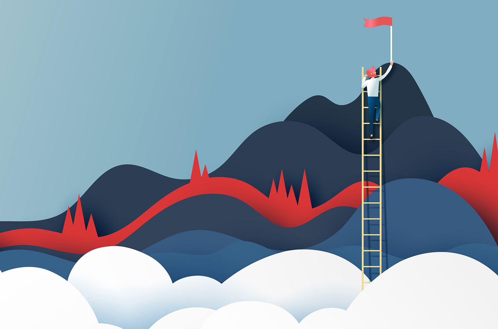 Vector illustration of business man on ladder reaching the red flag on the top of mountains.