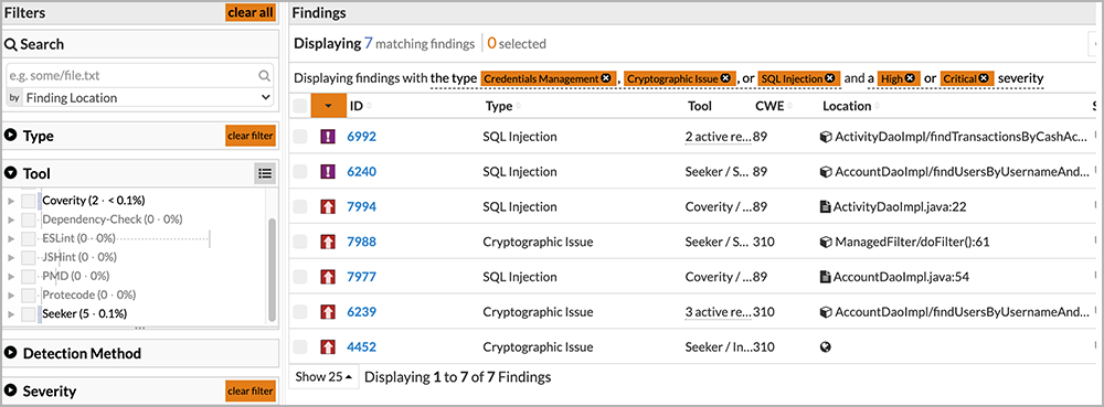 Code Dx filtering results based on findings found by Coverity and Seeker   Synopsys