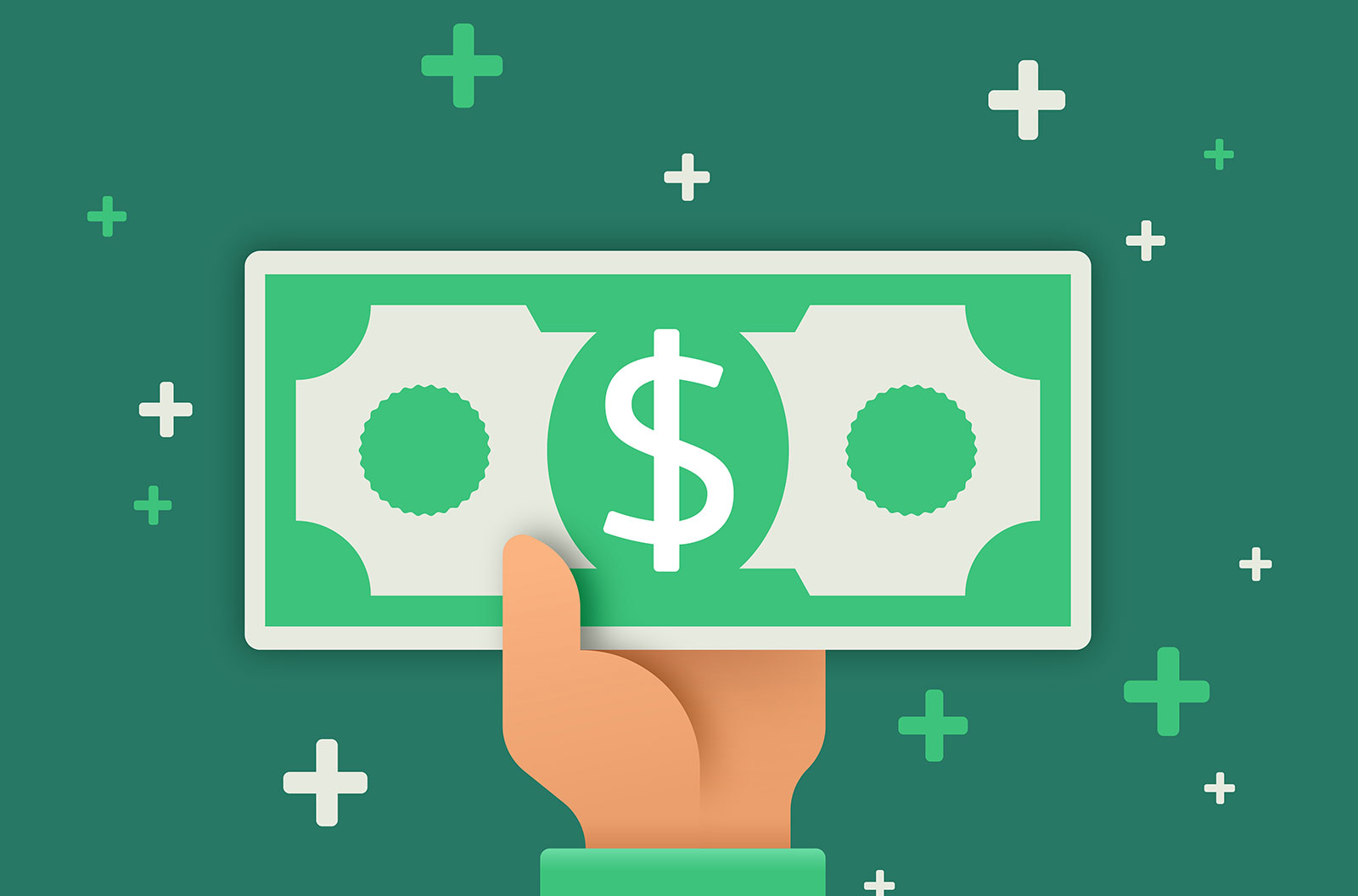 Illustration of a hand paying or receiving cash with a green background