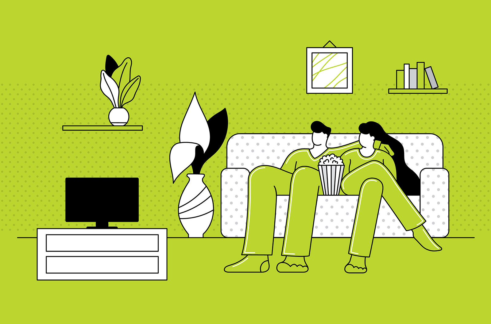 Illustration of a couple staying at home