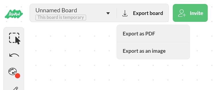 保存するときは「Export board」ボタンをクリック