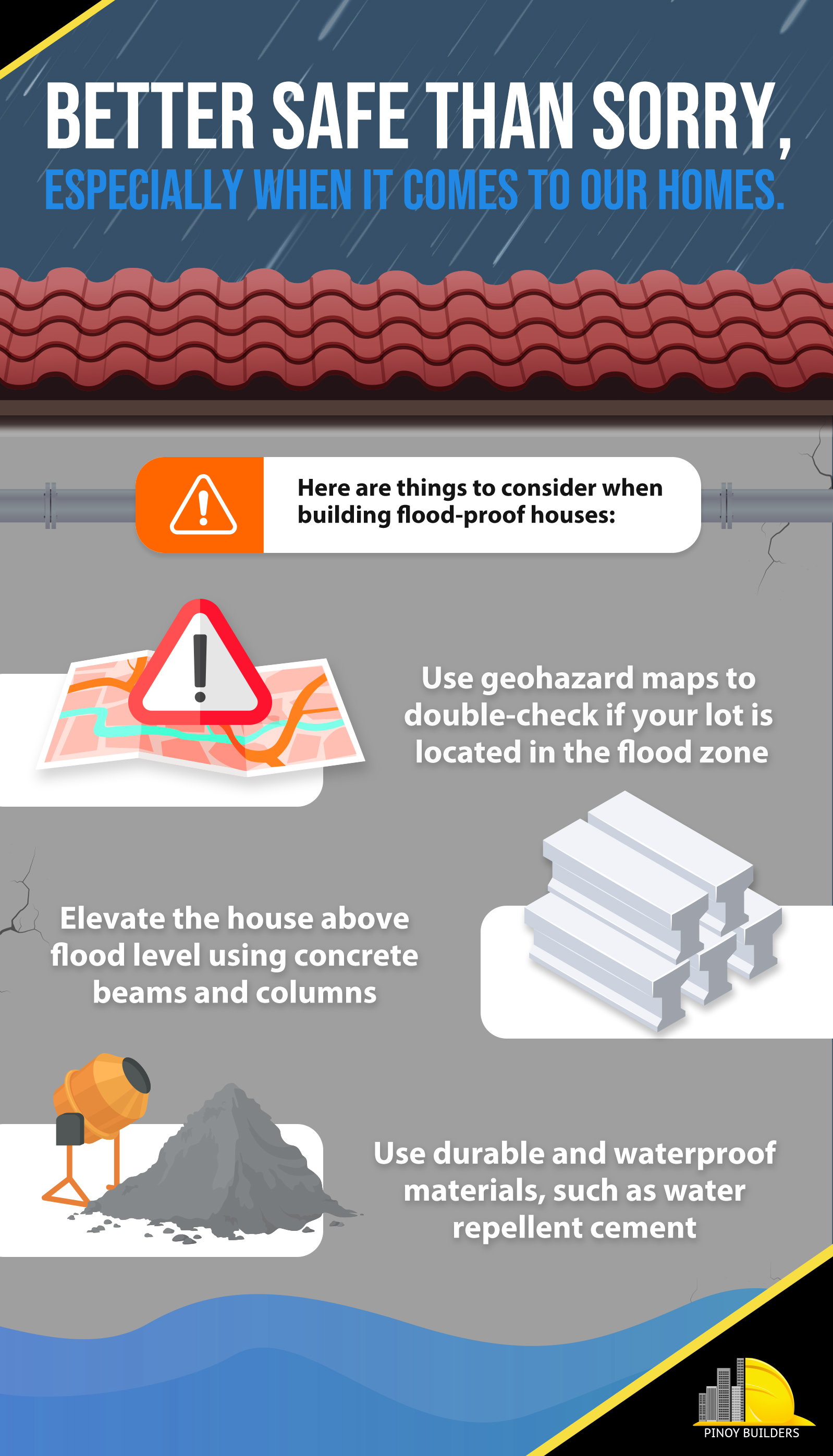 Tips for building a flood-proof house infographic