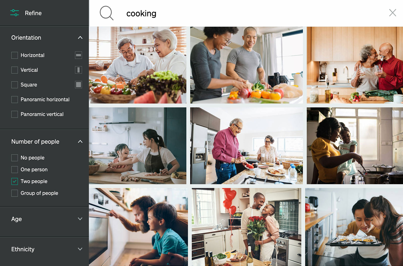 """iStock search results page for """"cooking"""" - showing various people cooking at home"""