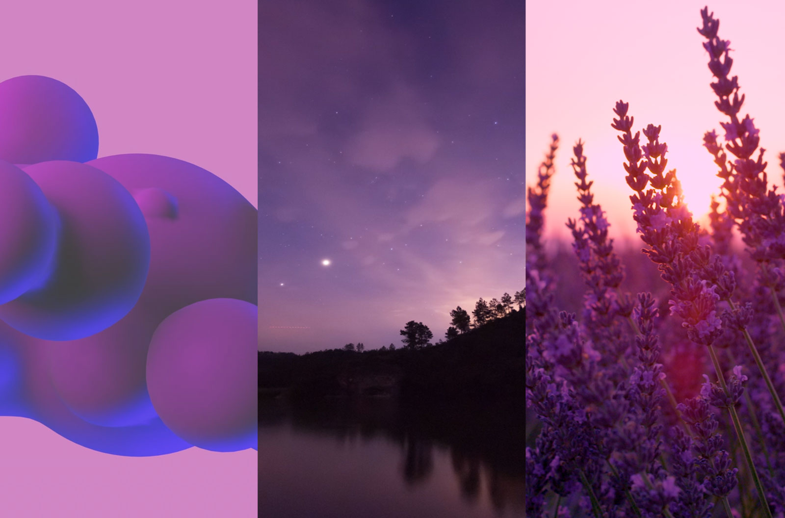 Colorful mosaic of abstract shapes and spheres, the milky way and a starry sky, and sunbeams shining through lavender stalks