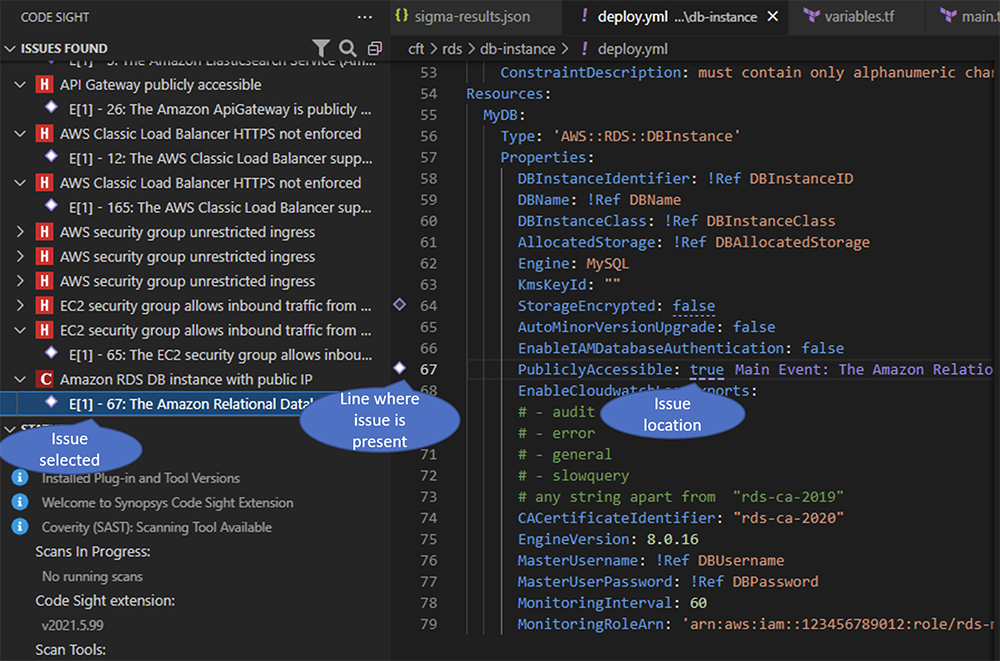 Code Sight IDE plugin flags issue and location in code | Synopsys