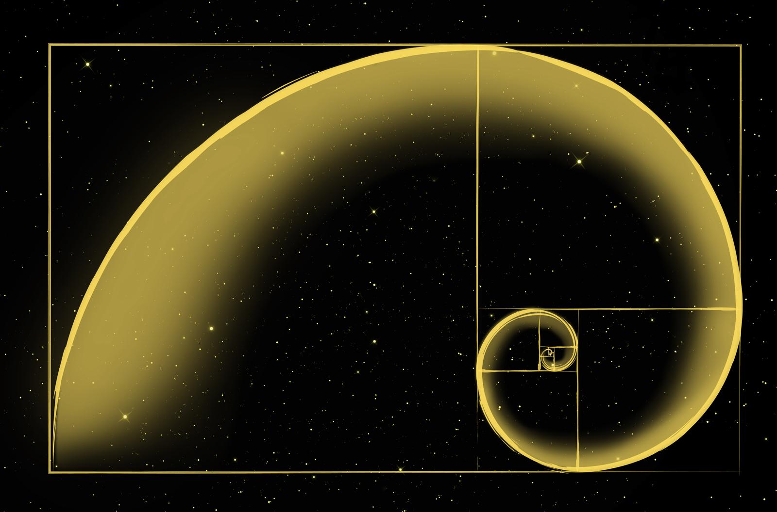 Illustration of the Golden Spiral on a black, starry background