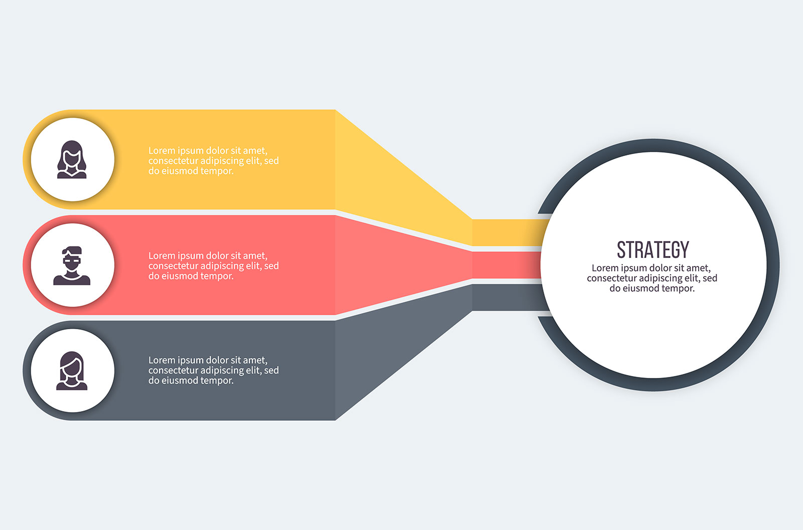 Business infographic with three tabs coming off a circle with placeholder language