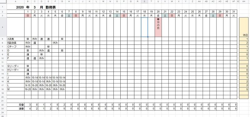 エクセルで作成したシフト表