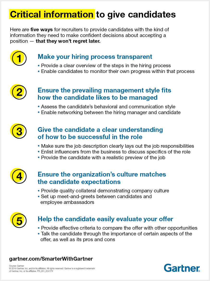 Gartner outlines five ways recruiters can provide job candidates with the critical information needed to accept a job offer they won't regret.