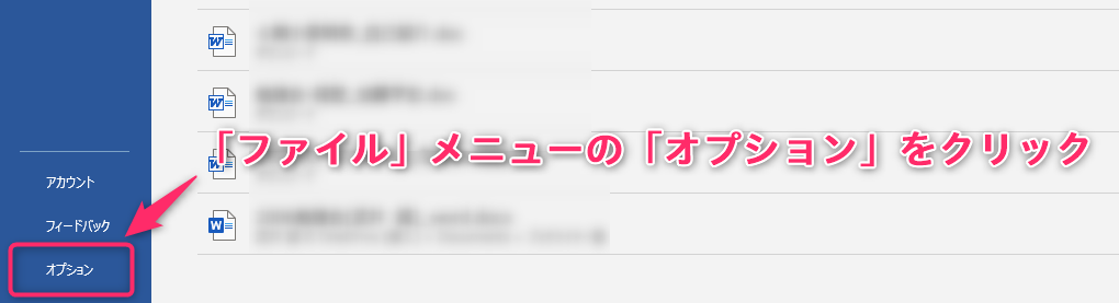ホームメニューの「オプション」ボタンをクリック