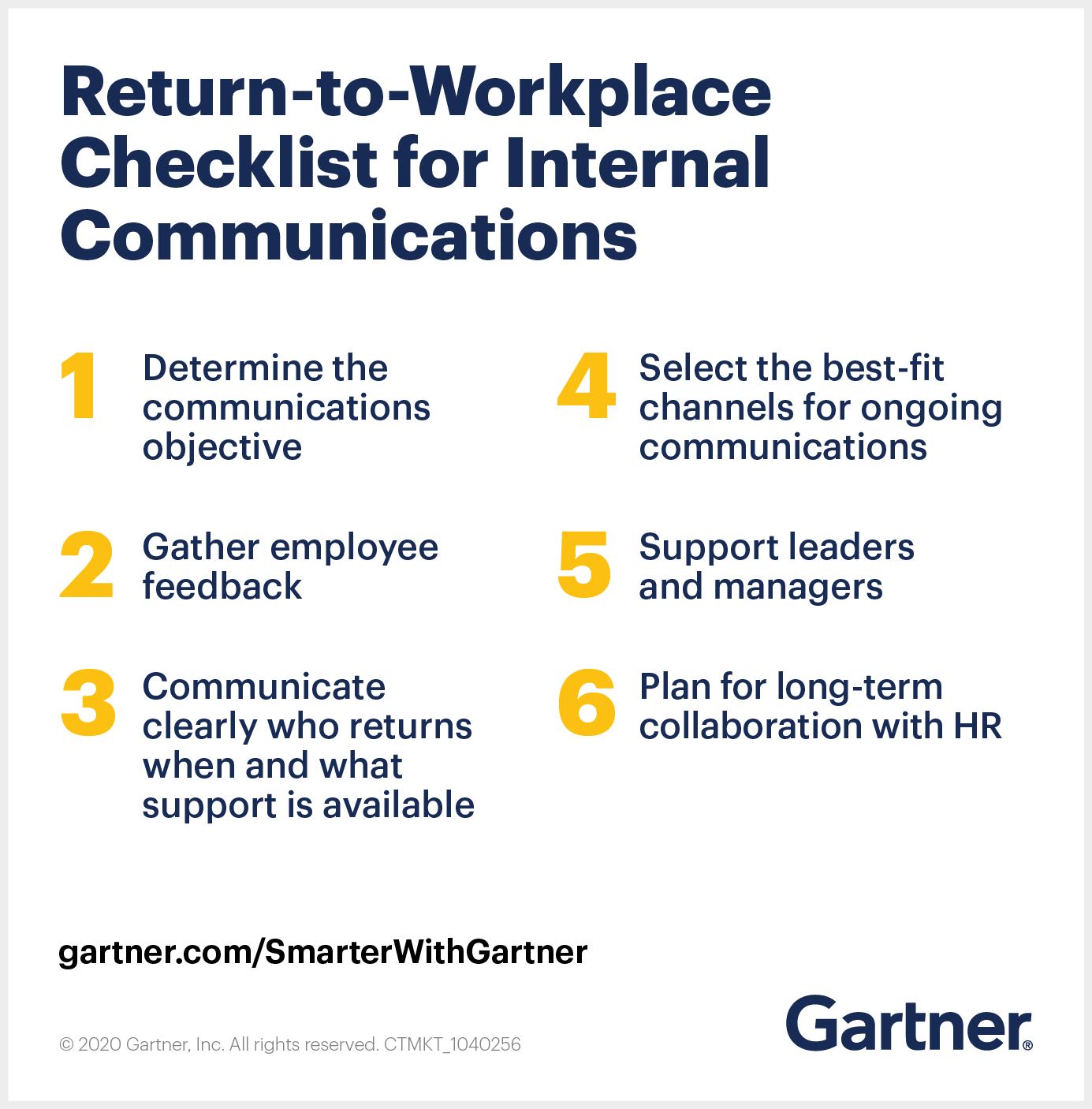 Gartner provides a return-to-workplace checklist for internal communications
