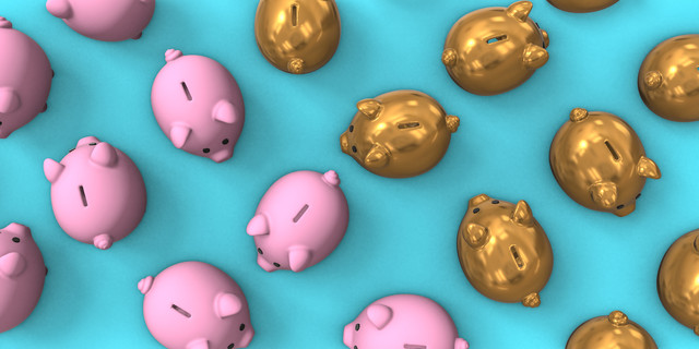 Pink and gold collection of piggy banks 3d render