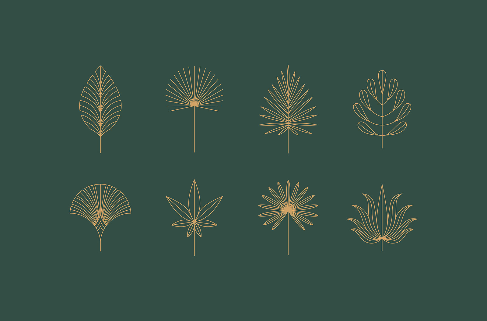 Vector set of linear boho icons and symbols - floral designs