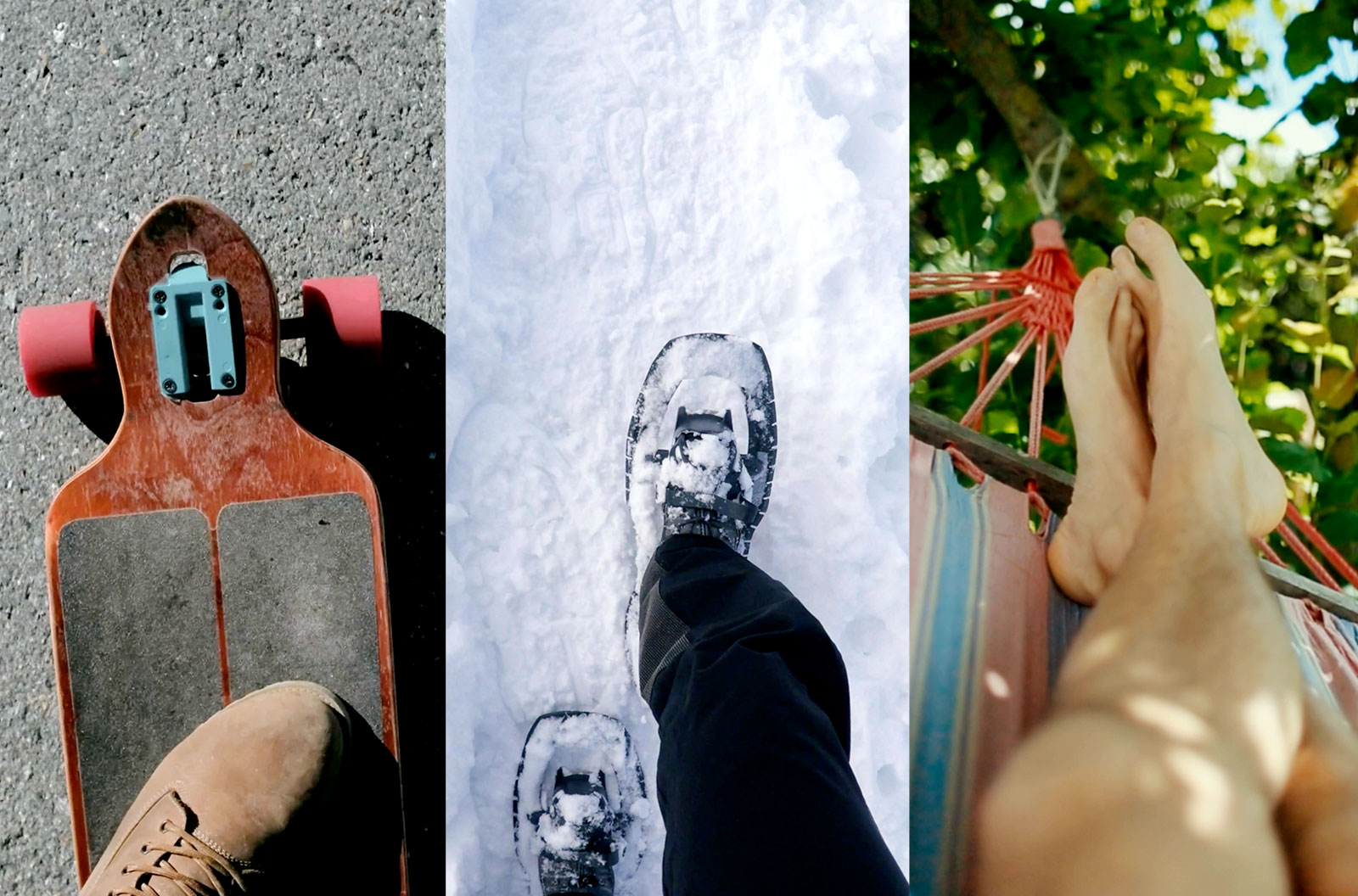 Mosaic showing a skateboarder, someone's boots hiking in the snow, and someone relaxing on a hammock