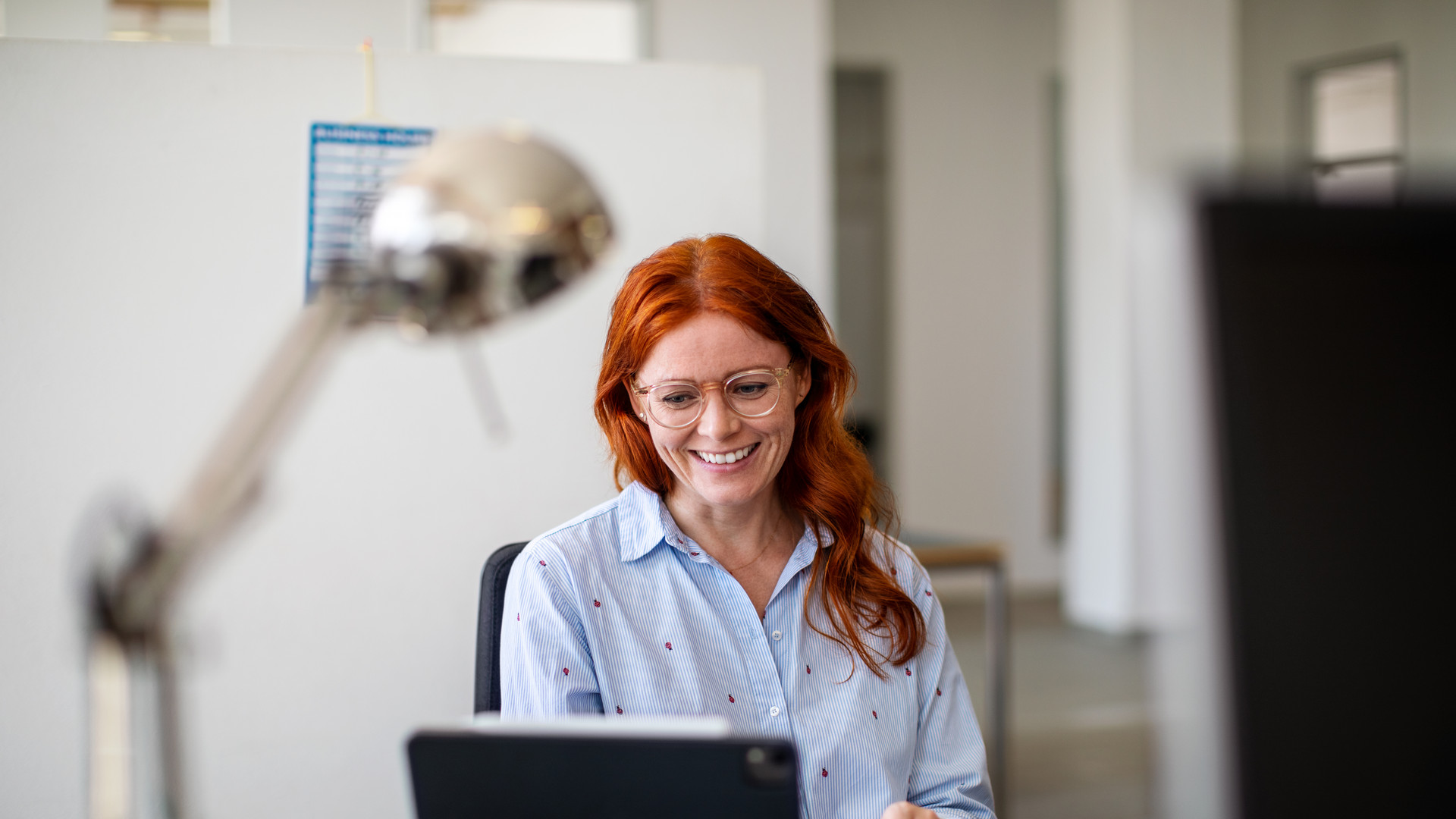 Businesswoman having a video call at office