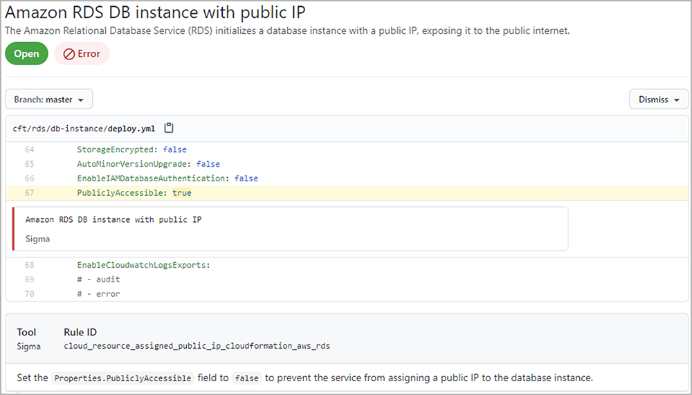 GitHub dashboard highlights line and location of issue in code | Synopsys