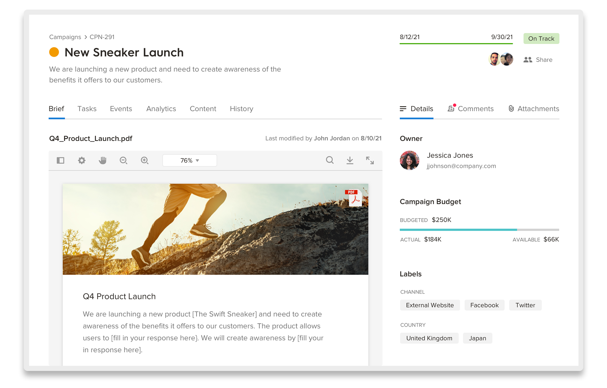 Welcome Content campaigns view