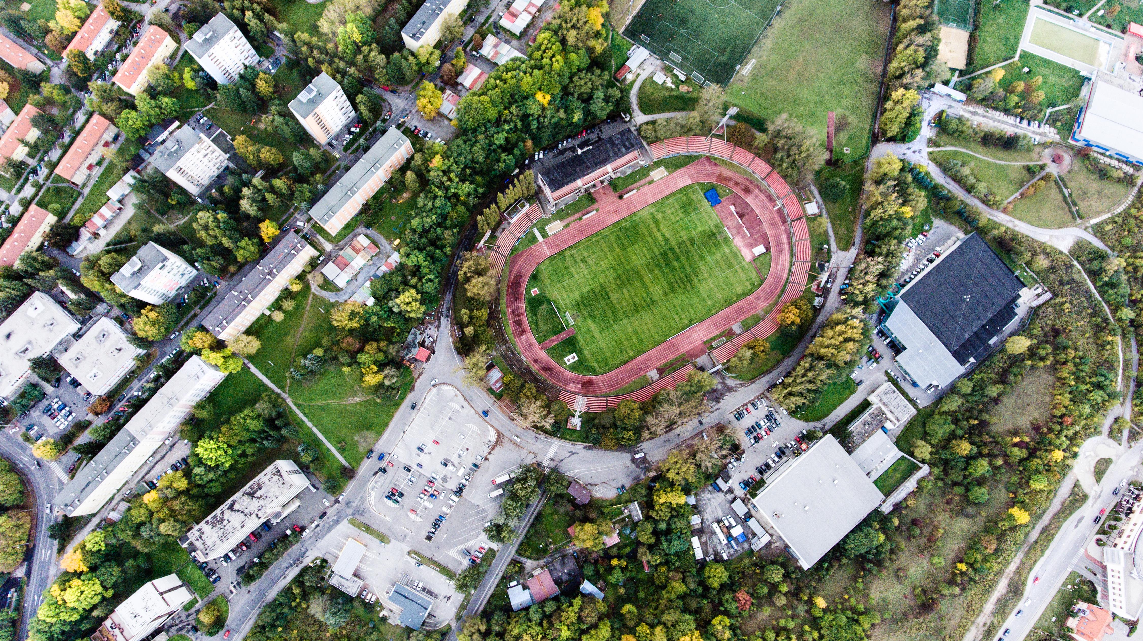 Aerial view of football stadium in town, Banska Bystrica, Slovak
