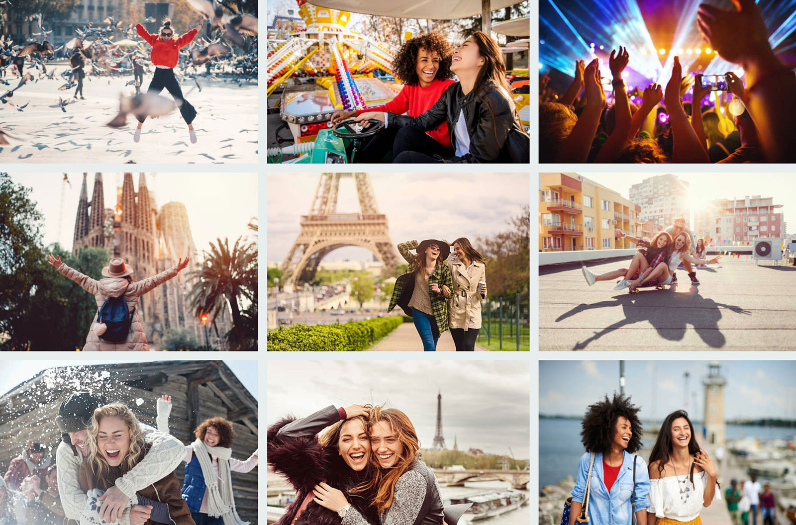 """iStock search results page for """"excitement female traveling"""" - showing various women having fun while traveling"""