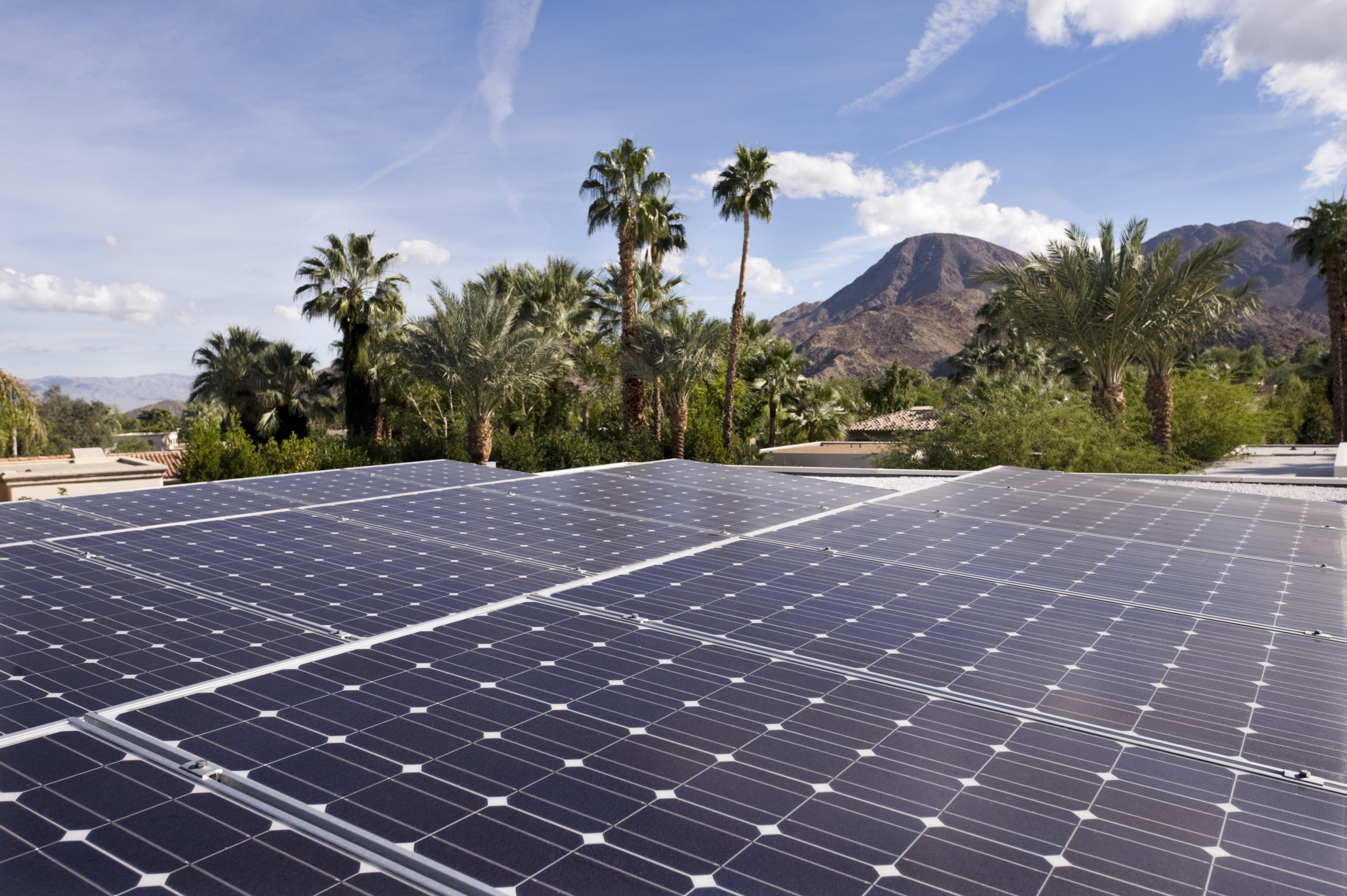 solar panels, desert home, nature