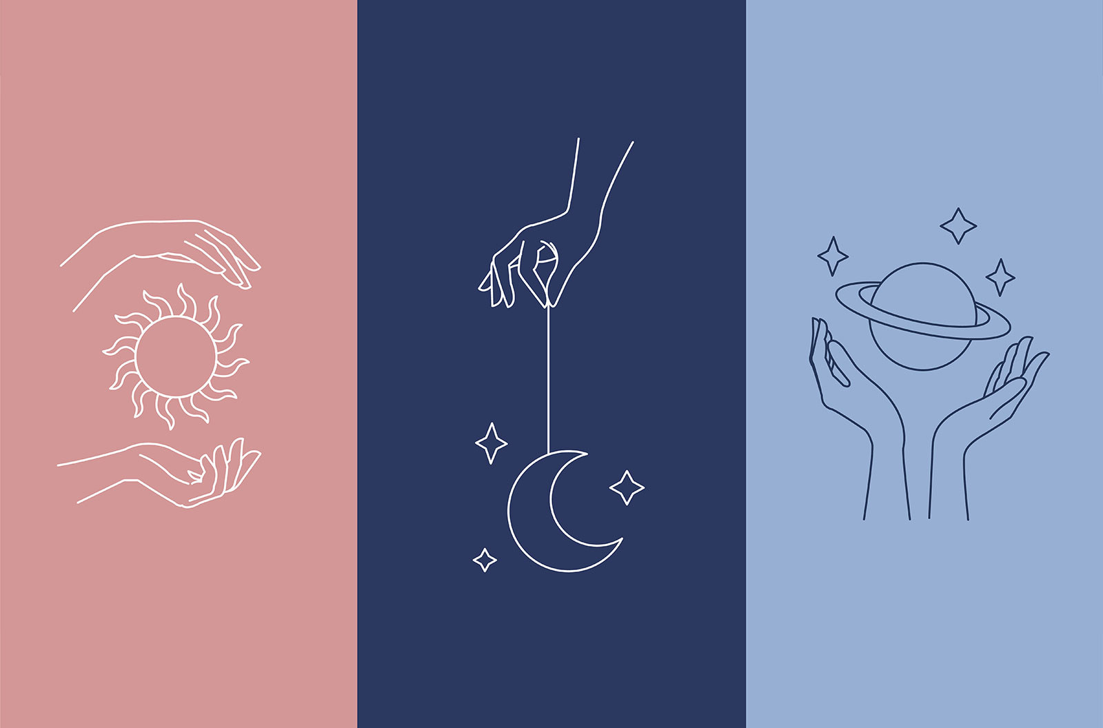 Logo design with woman's hand and mystical celestial elements - sun, moon and planet.